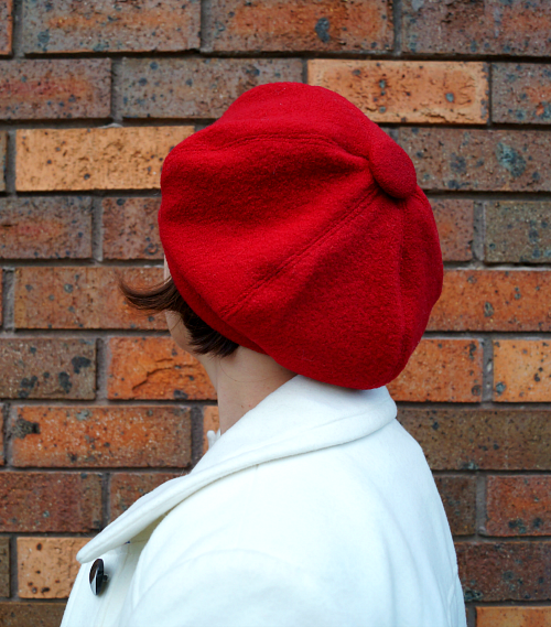 Tanith Rowan: Six panel red wool beret