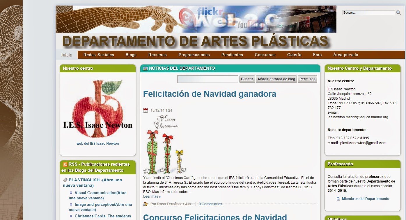 Plastinglish visual arts web del departamento de for Del website