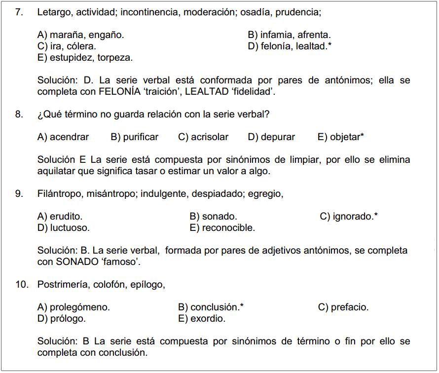 Series Verbales Ejemplos | Razonamiento Verbal
