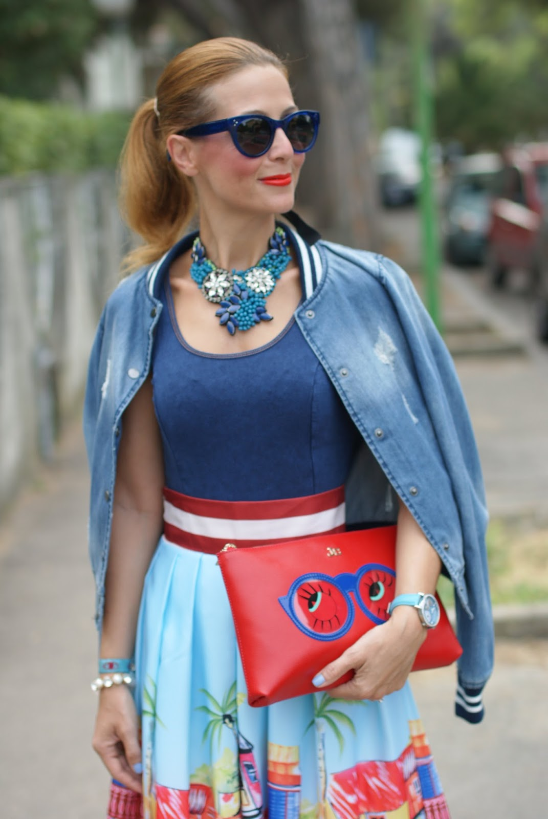 Hype Glasses new summer 2015 collection, SimonaB necklace and Jack y Celine cartoon glasses clutch  on Fashion and Cookies fashion blog