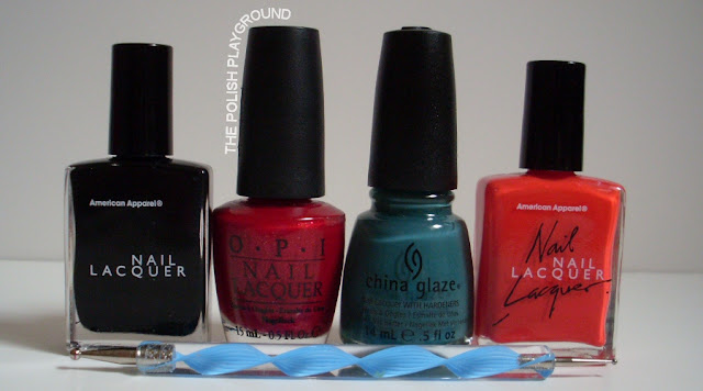 American Apparel, OPI, China Glaze, dotting tool