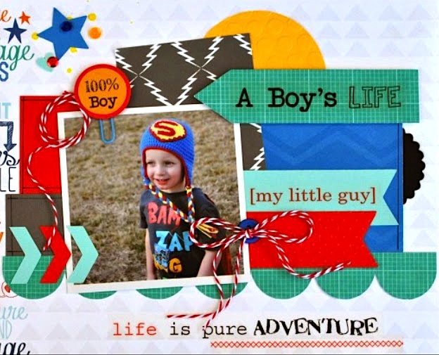 SRM Stickers Blog - A Boy's Life Layout by Cathy H.- #layout #boy #everyday #stickers #punched pieced #twine