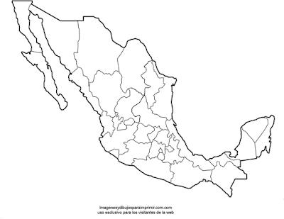 Mapa politico sin nombres de México