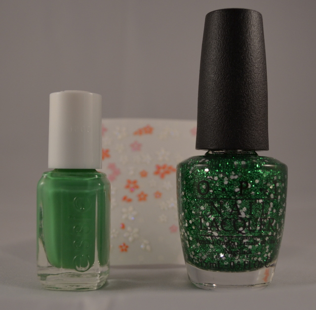 Essie: Mojito Madness, OPI Fresh Frong of Bel Air, Nail stickers