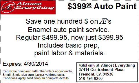 Coupon Almost Everything $399.95 Car Paint Sale April 2014