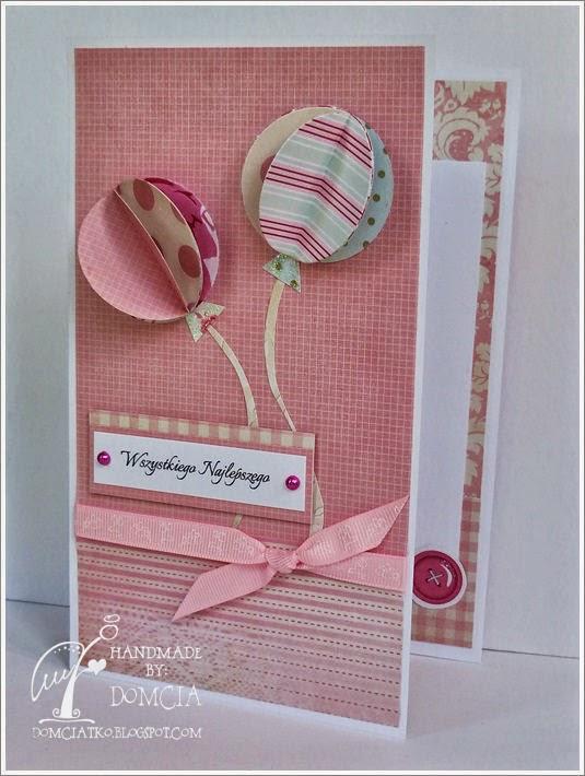 kartka urodzinowa, kartka z balonikami, kartka parawanowa, cards, birthday cards, scrapbooking cards