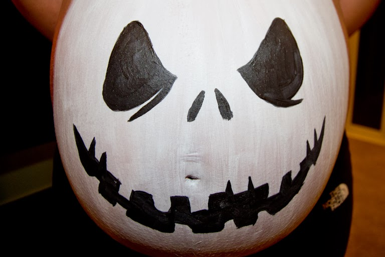 tales of the flowers jack skellington pregnant belly painting - Pregnant Halloween Painted Bellies