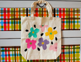 freezer paper stenciled flower canvas bag