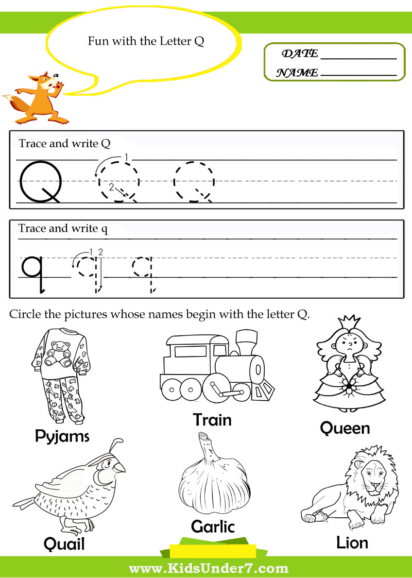 Worksheets Letter Q Worksheet worksheet letter q activities for kindergarten wosenly free mikyu abitlikethis tracing