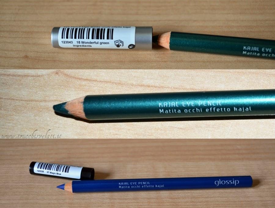 glossip make up matite effetto kajal blu verde