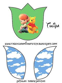 imprimible gratis de  Winnie de Pooh y sus amigos con forma de tulipán