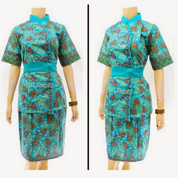 DB3813 Model Baju Dress Batik Modern Terbaru 2014