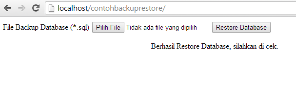 Restore Database MySQL dengan PHP
