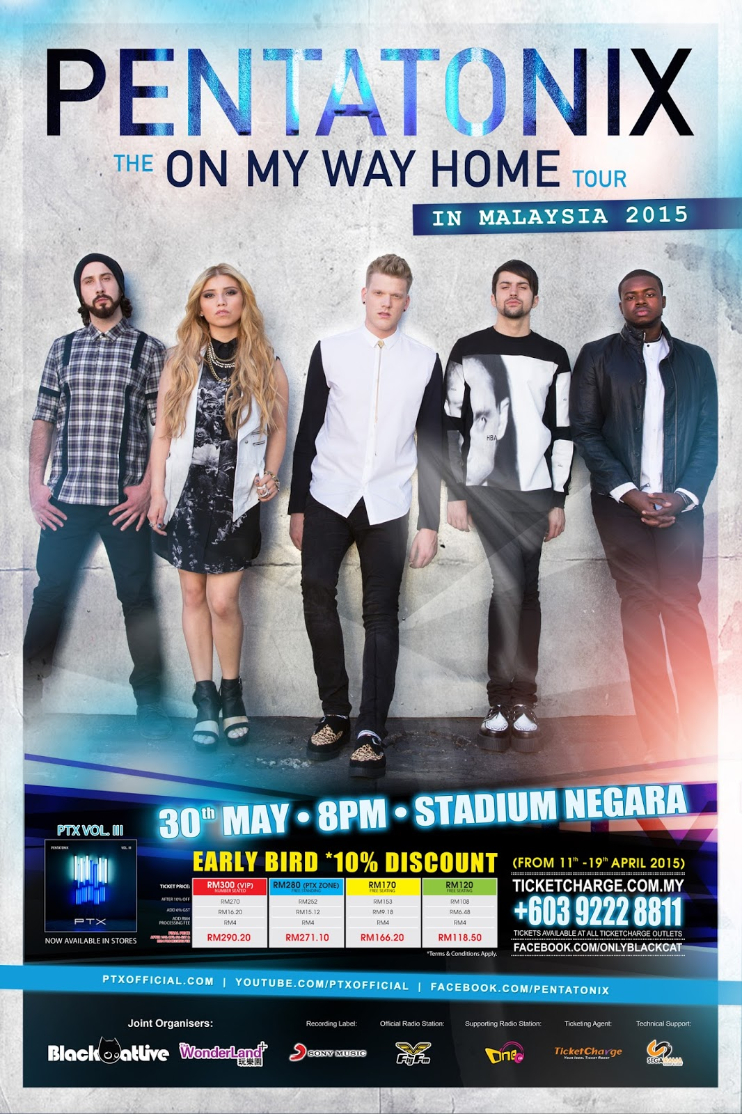 PENTATONIX Live in Malaysia 2015 - The On My Way Home Tour 30th May 8PM @ Stadium Negara