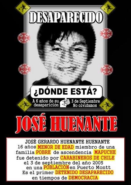 Jose Huenante: Mapuche Detenido-desaparecido por el Estado CHILENO en democracia