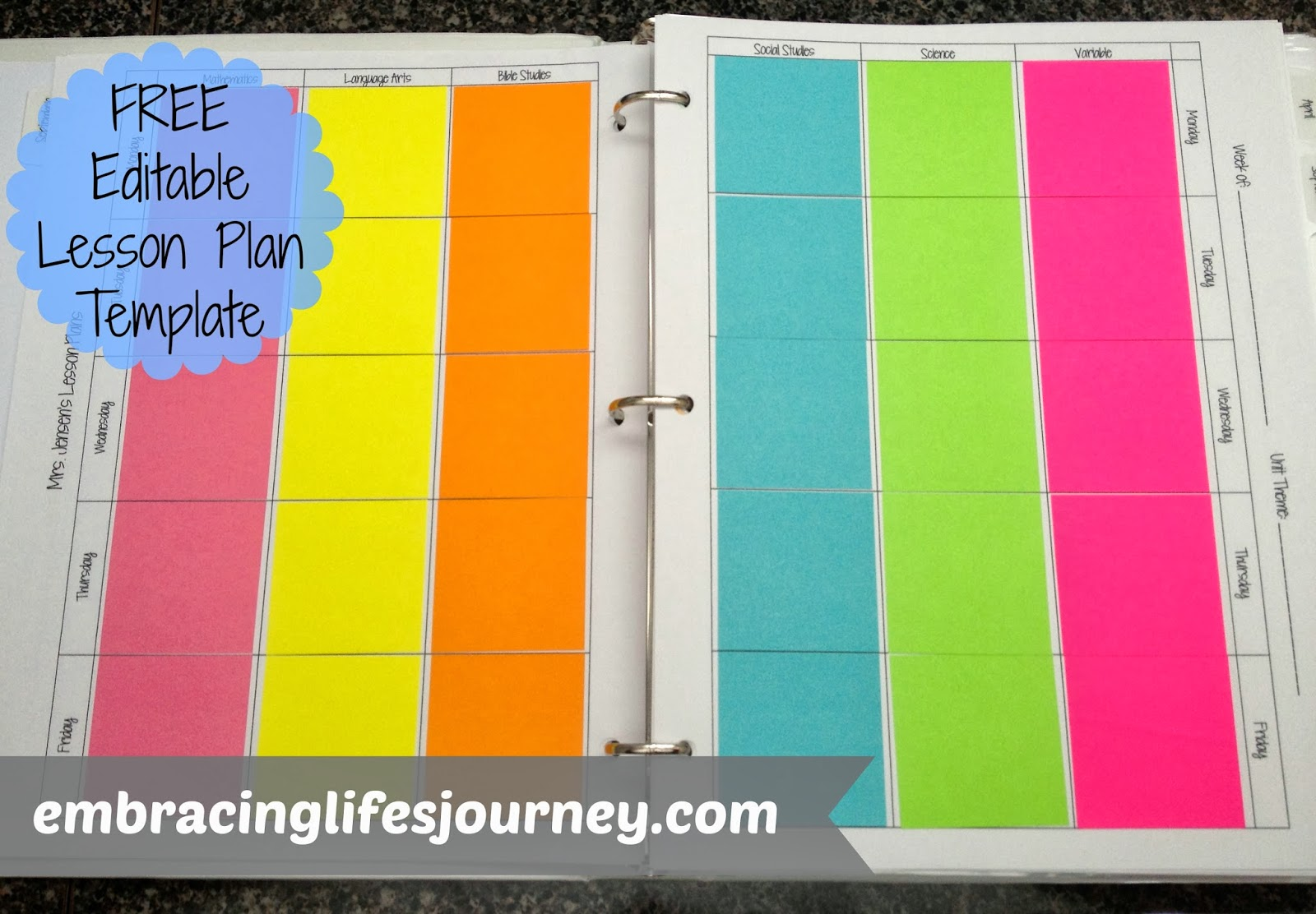 ... Life's Journey: FREE editable sticky note lesson plan template