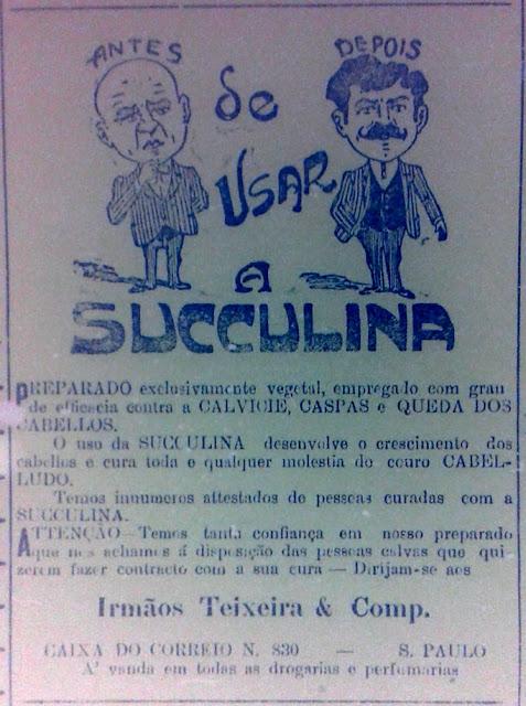 Propaganda de medicamento que faz combate à calvície, apresentado em 1912.