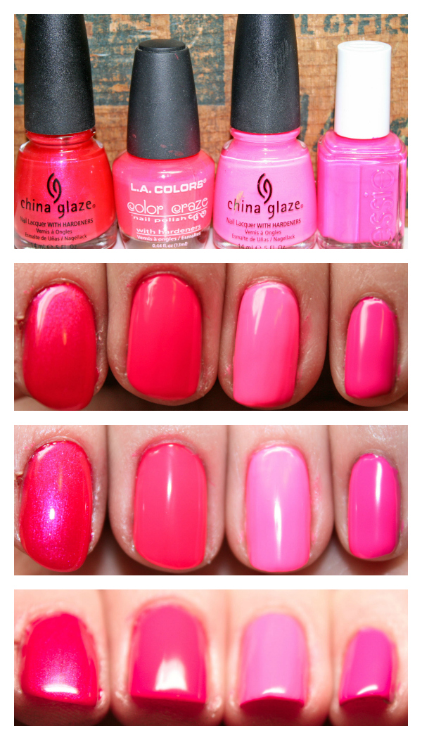 vibrancy on a brush: Nail Polish Comparison - Neon Pinks