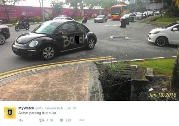 Balasan kerana parking sesuka hati