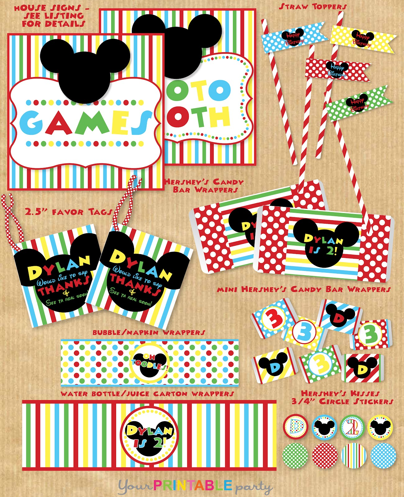 It's just a photo of Zany Mickey Mouse Party Printables