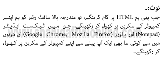 Learning HTML in Urdu online Note Class 1