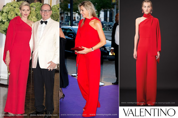 Princess Charlene of Monaco wore Valentino One Shoulder Jumpsuit in Red, Queen Maxima of Netherlands wore the same Valentino one Shoulder Jumpsuit in Red
