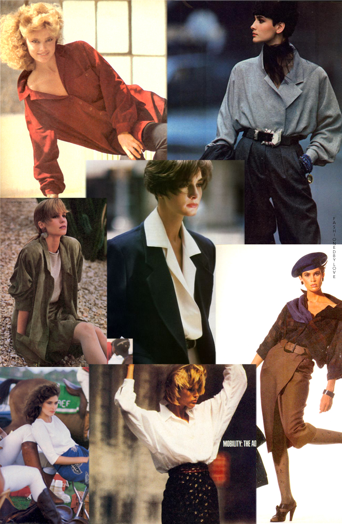 Donna Karan & Louis Dell'Olio designs for Anne Klein in editorials and campaigns, 1980s