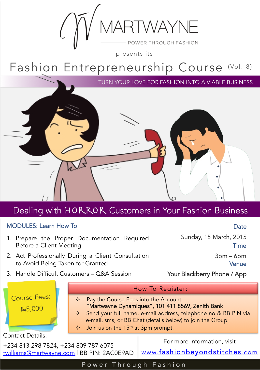 "Register for FEC 8: ""Dealing with HORROR Customers in Your Fashion Business""."
