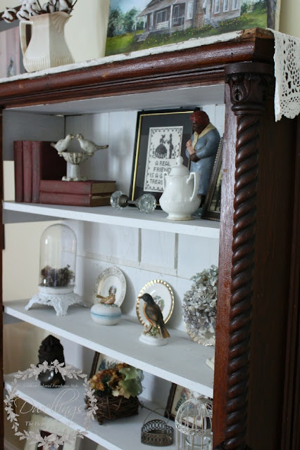 Farmhouse style guest room cupboard filled with some of my favorite things.