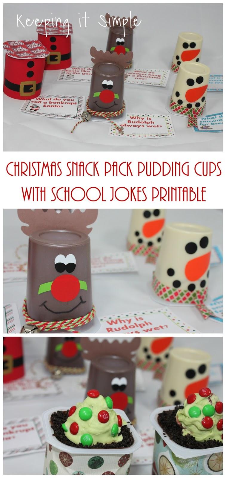 fun christmas treat christmas snack pack pudding cups with school jokes printable