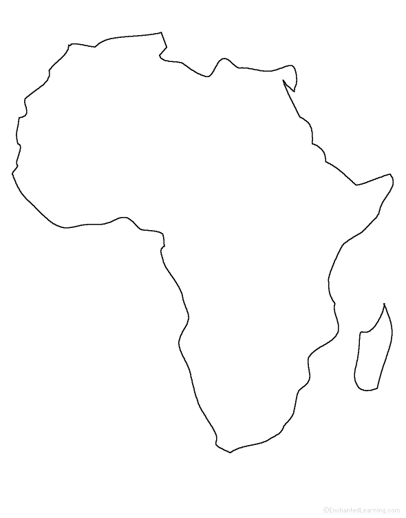 Small completely blank outline map of Africa with no border lines or labelling at all.