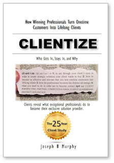 over 400 pages of client survey information on what makes clients buy from certain professionals