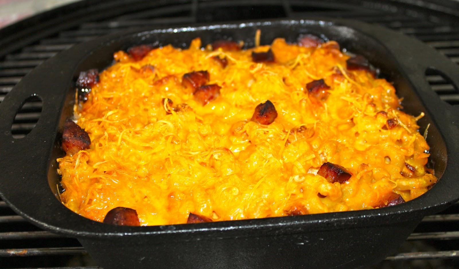 GOBLUEBBQ: Smoked Mac and Cheese w/ Kielbasa