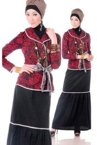 Esme Gamis E-010606 - Merah Hitam (Toko Jilbab dan Busana Muslimah Terbaru)