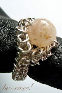 pierścionek chainmaille kwarc