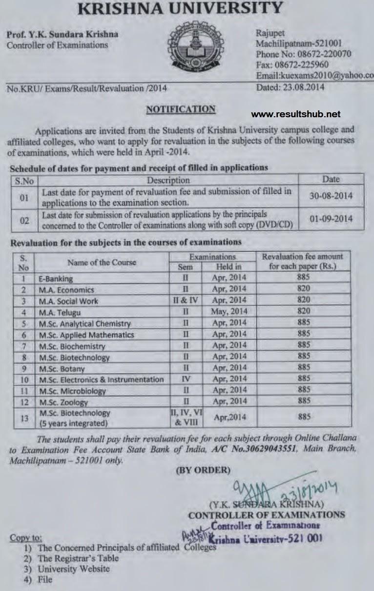 Krishna University PG 2, PG 4 Reval Notification