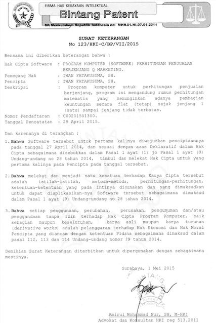 Surat Hak Paten HAKI