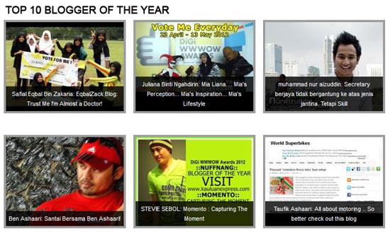 Digi WWWow Awards 2012 | Top 10 Blogger of The Year