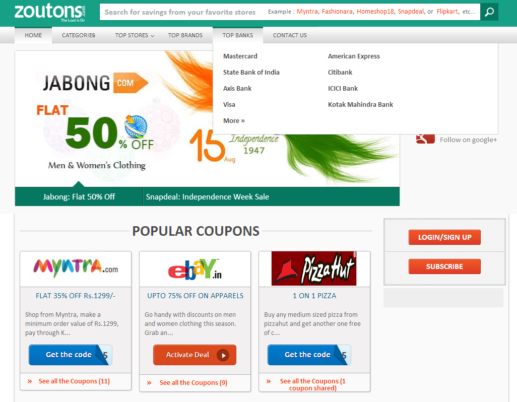 Coupons and deals website