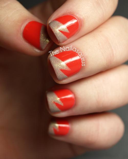 31DC2012: Day 2 Orange Nails - The Nailasaurus