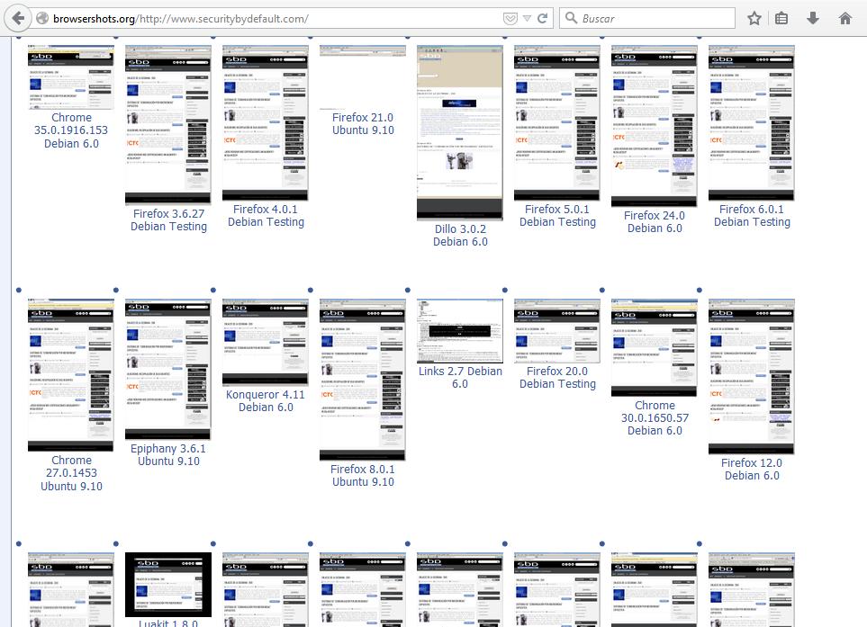 Pantallazos de una página web generados por Browser Shots
