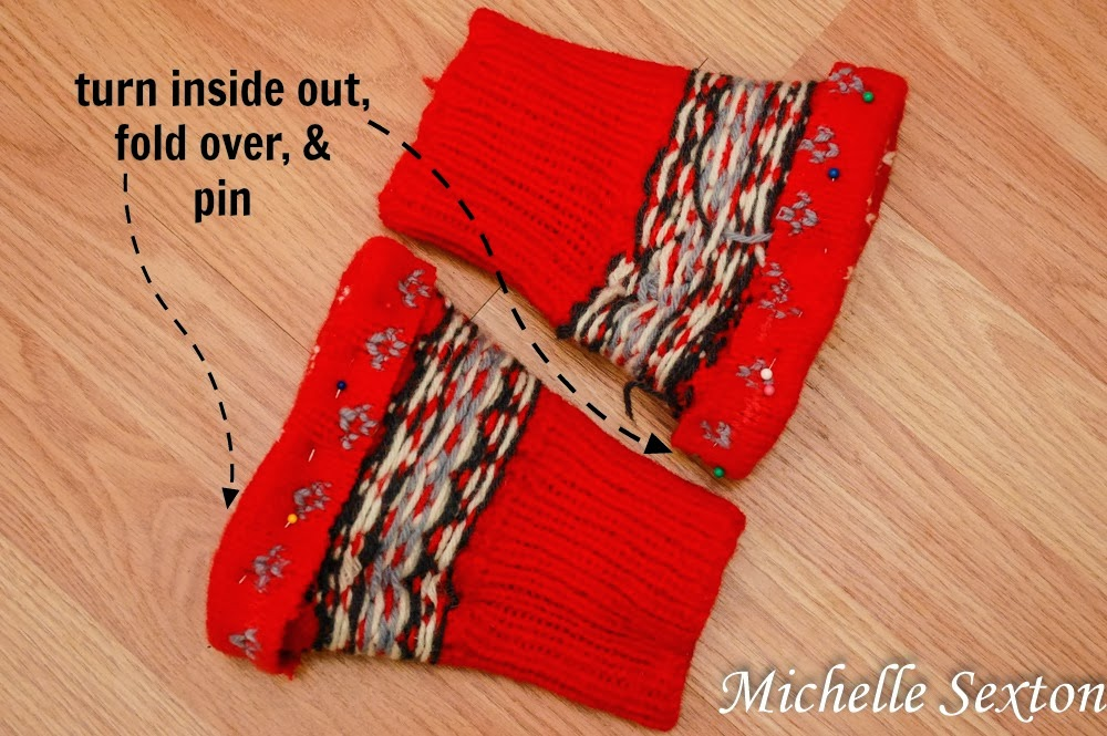 turn inside out, fold over, and pin