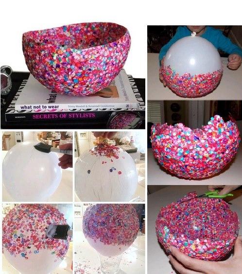 de vaselina no balão), estoure o balão depois de seco e corte do seu