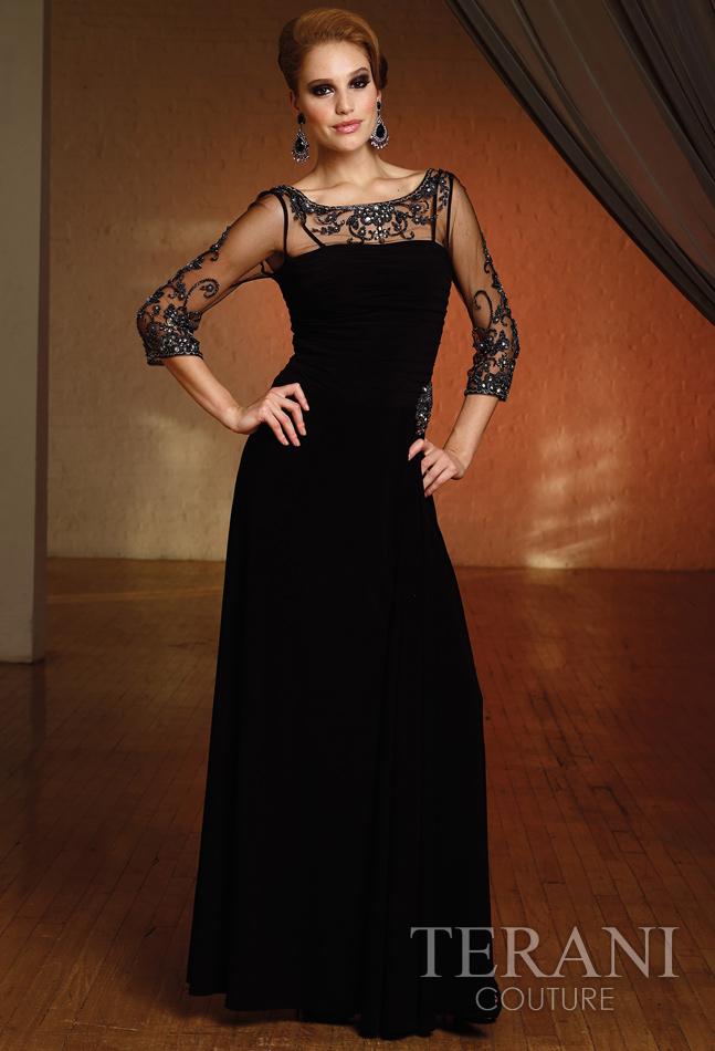 Schwarze lange Kleider von Terani Kollektionen 2012
