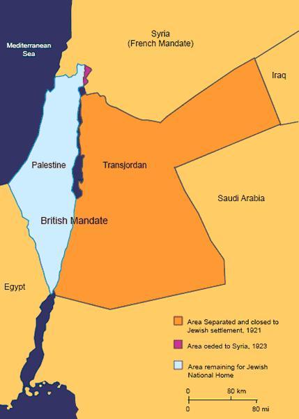 W 1922 r. W. Brytania gwalcac mandat Ligi Narodo ustanowila Jordanie