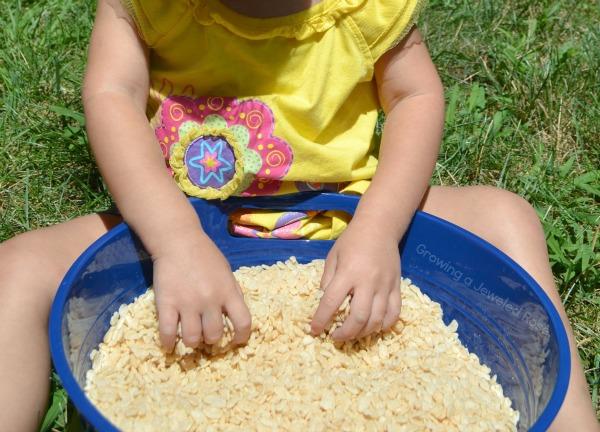 Popping rice sensory play