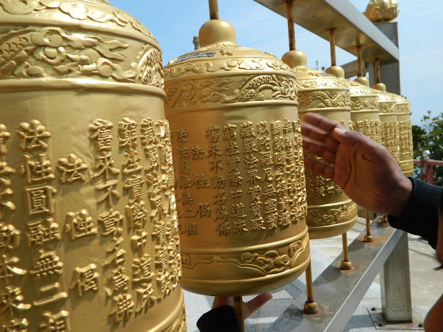 Golden prayer wheels at the Sanbangsan temple