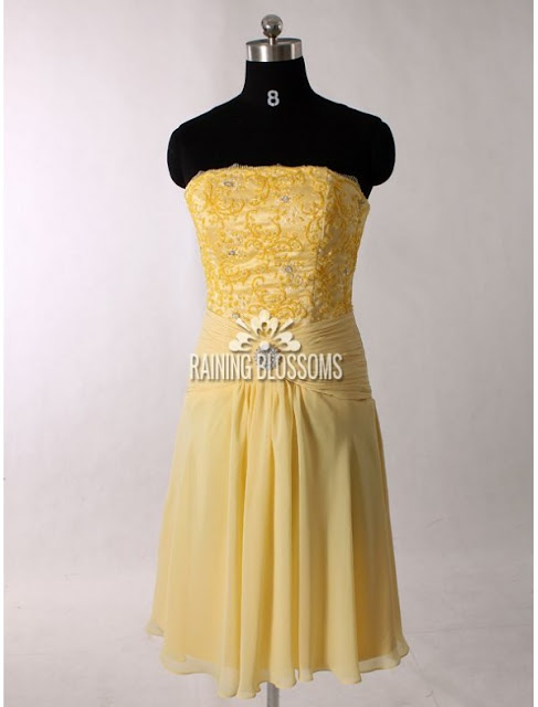 Chiffon Strapless Sheath Cocktail Dress with Broach Detail Ruched Waistline