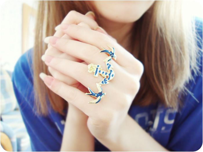 Swallows and Anchor Two Finger Ring, Jewelry, Rings, Two Finger Ring, Swallow, Anchor