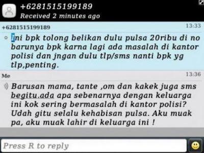 SMS Penipuan Bapak di kantor polisi